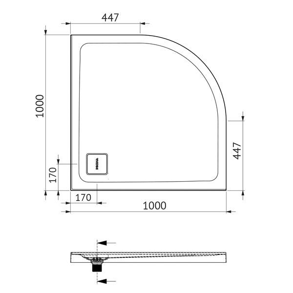 Decina Luna 1000 Curved Shower Base Technical Drawing - The Blue Space