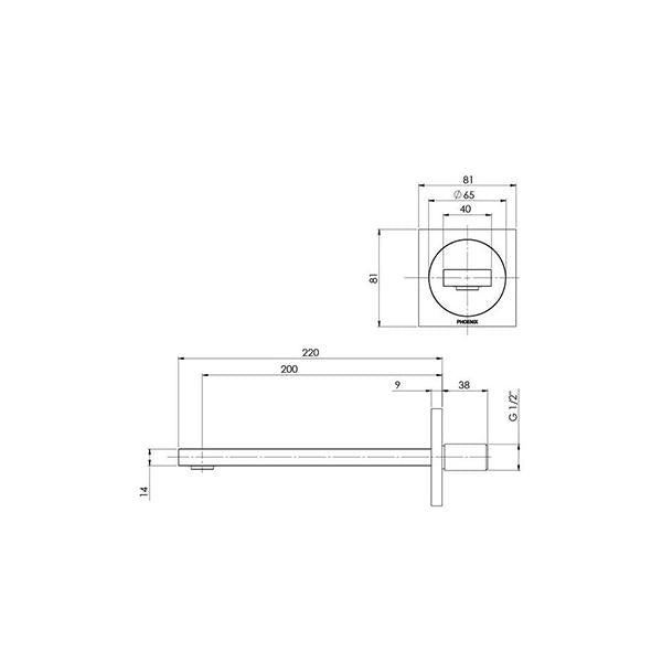 Technical Drawing - Phoenix Ortho Wall Basin/Bath Outlet 200mm - Brushed Nickel