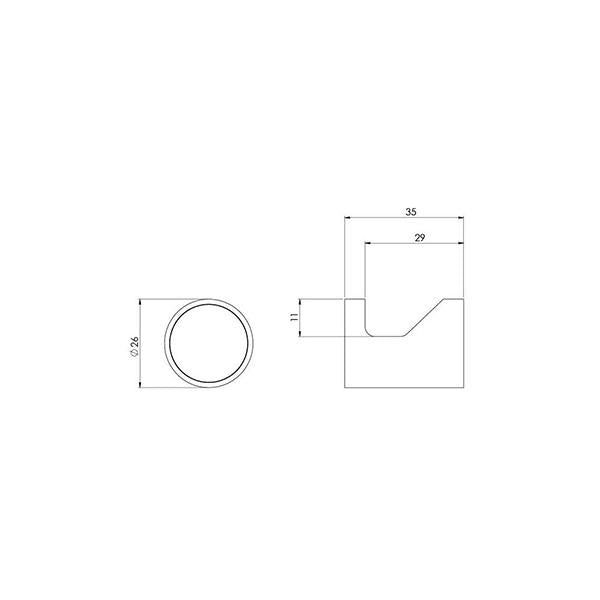 Phoenix Vivid Slimline Robe Hook Chrome Technical Drawing - The Blue Space
