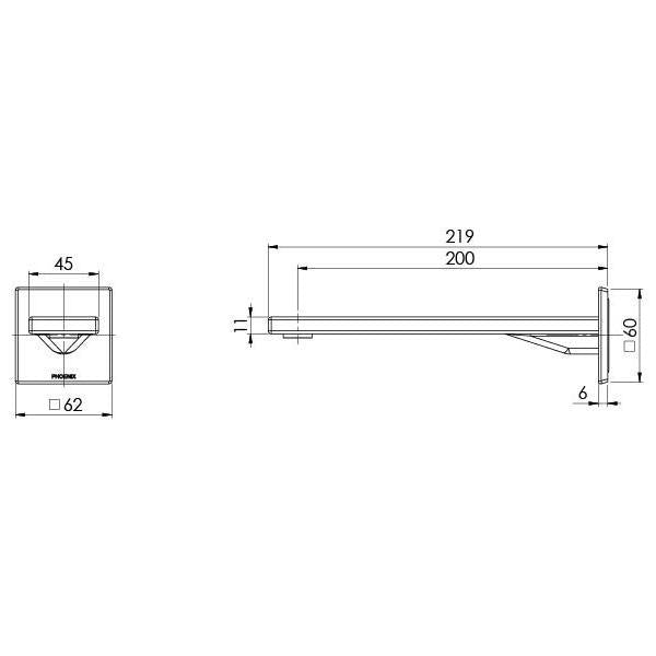 Technical Drawing - Phoenix Zimi Wall Basin Outlet 200mm - Chrome