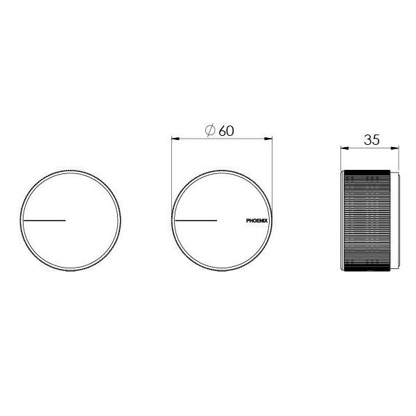 Technical Drawing - Phoenix Axia Wall Top Assembles - Chrome