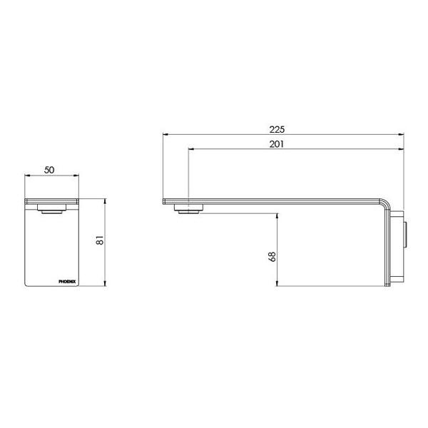 Techncial Drawing - Phoenix Axia Wall Basin / Bath Outlet 200mm - Chrome