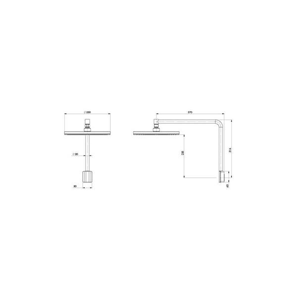 Technical Drawing - Phoenix NX Vive Shower Arm & Rose - Chrome