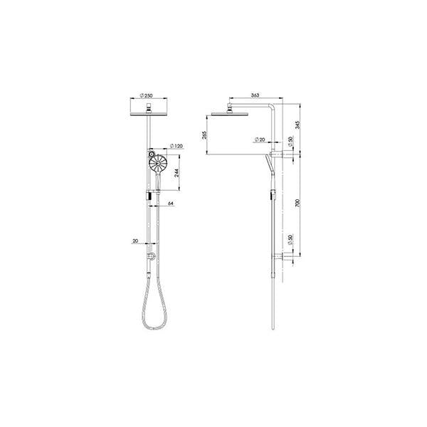 Technical Drawing - Phoenix NX Vive Twin Shower - Chrome/White