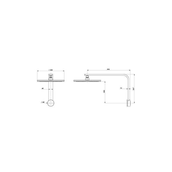 Technical Drawing - Phoenix NX Quil Shower Arm & Rose - Chrome/Black