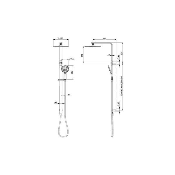 Technical Drawing - Phoenix NX Quil Twin Shower - Chrome/Black
