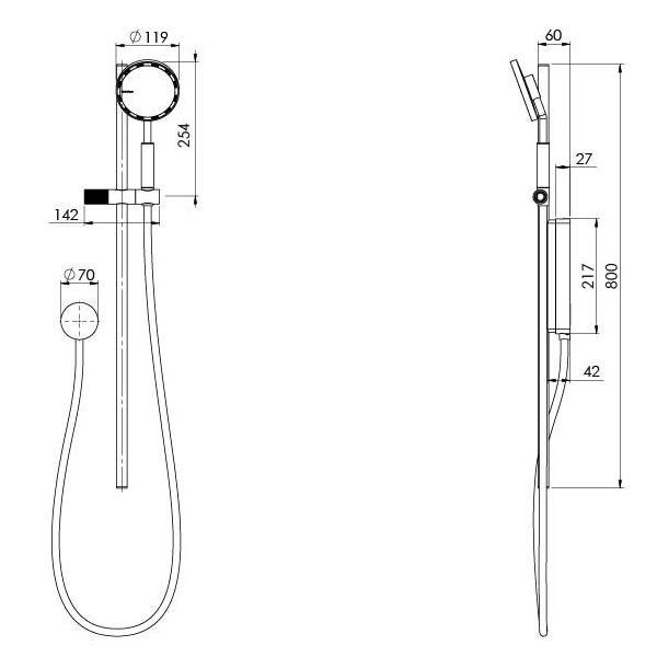 Technical Drawing - Phoenix NX IKO with Hydrosense Rail Shower