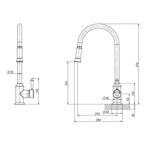 Phoenix Nostalgia Pull Out Sink Mixer - Antique Black -  specs - line drawing and dimensions