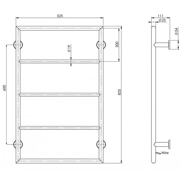 Phoenix Vivid Heated Towel Ladder Technical Drawing - The Blue Space