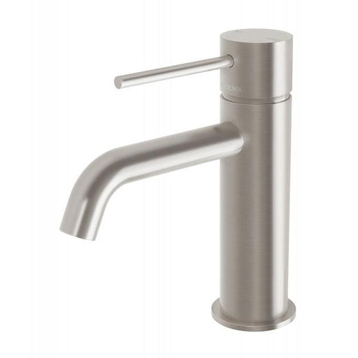 Phoenix Vivid Slimline Basin Mixer Curved Outlet - Brushed Nickel Online at The Blue Space