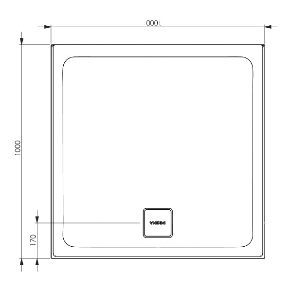 Decina Luna 1000 Rear Outlet Shower Base line dimensions and drawings- The Blue Space