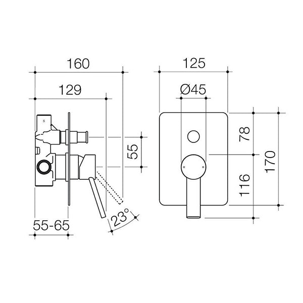 Dorf Villa Bath/Shower Mixer with Diverter - Gunmetal Grey Technical Drawing - The Blue Space