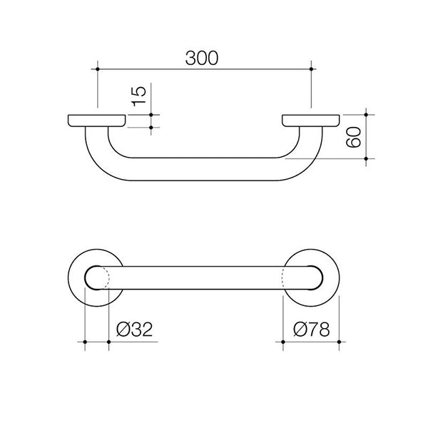Caroma Home Collection Straight Grab Rail 300mm Technical Drawing - The Blue Space