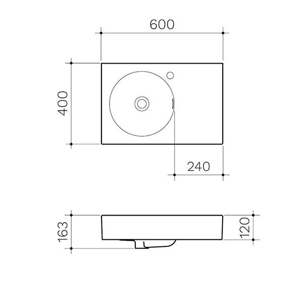 Clark Round Wall Basin Right Hand Shelf 600mm No Tapholes - Dimensions line drawings