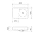 Clark Round Wall Basin Left Hand Shelf 600mm One Taphole - dimensions line drawings