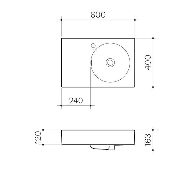 Clark Round Wall Basin Left Hand Shelf 600mm No Tapholes - Dimensions line drawings