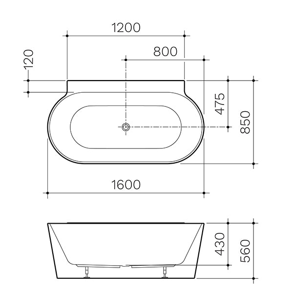 Clark Round Back To Wall Freestanding Bath 1600mm dimensions