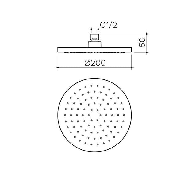 Clark Round Overhead Shower - Chrome - Dimensions