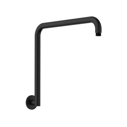 Clark Upswept Wall Shower Arm 400mm - Matte Black - The Blue Space