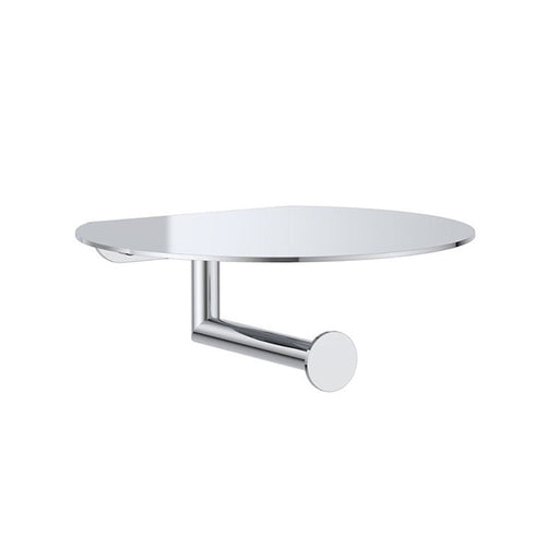 Clark Round Toilet Roll Holder with Shelf - Chrome - The Blue Space