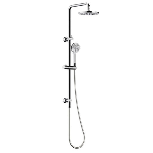 Clark Round Rail Shower with Overhead Rain Shower - Chrome - The Blue Space