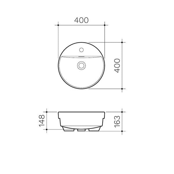 Clark Round Semi Recessed Basin 400mm - Dimensions