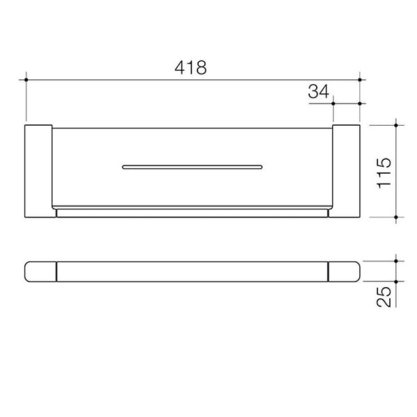 Caroma Contemporary Luna Metal Shelf Technical Drawing - The Blue Space