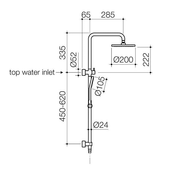 Clark Round Rail Shower with Overhead - Chrome - dimensions