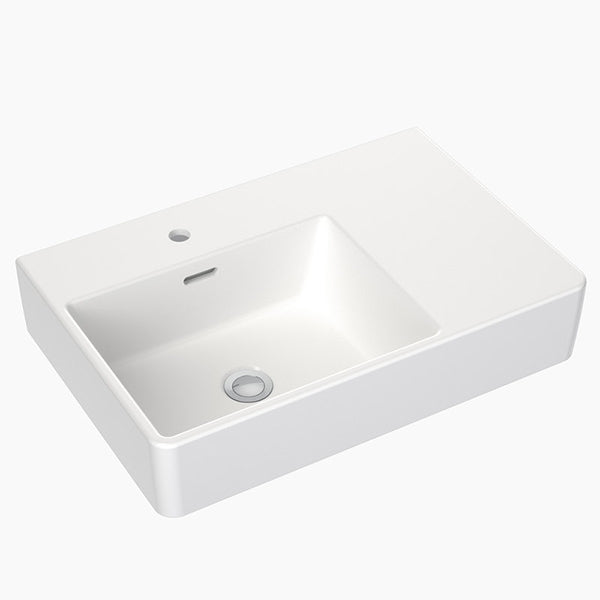 Clark Square Wall Basin Right Hand Shelf 600mm One Taphole with overflow - The Blue Space