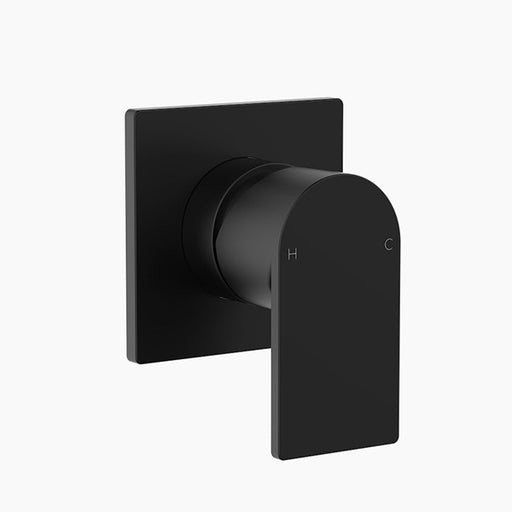 Clark Round Square Wall Bathroom Mixer - Matte Black - The Blue Space