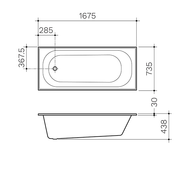Clark Round Bath 1675mm dimensions