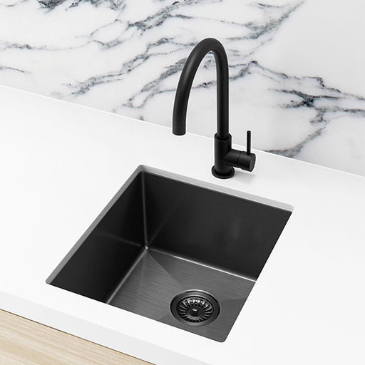 Meir Single Bowl PVD Kitchen Sink 440mm - Brushed Gun Metal Featured on a White Kitchen Benchtop and Marble Benchtop - The Blue Space