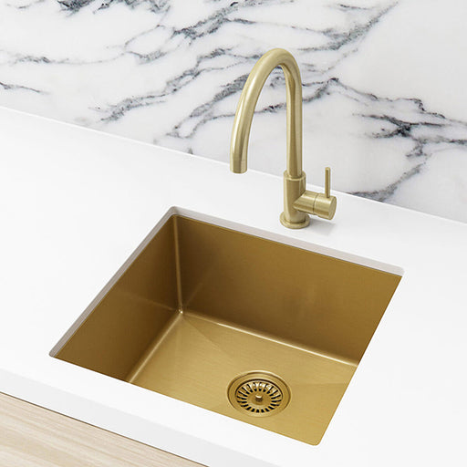 Meir Single Bowl PVD Kitchen Sink 450mm - Brushed Bronze Gold Featured on a White Kitchen Benchtop with Marble Splashback and Rounded Off Sink Mixer - The Blue Space