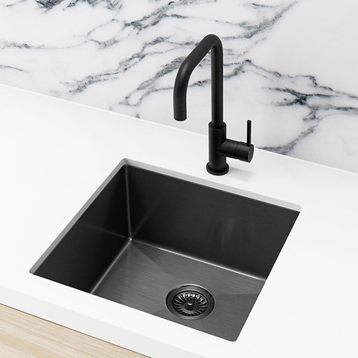 Meir Single Bowl PVD Kitchen Sink 450mm - Brushed Gun Metal Featured on a White Kitchen Benchtop with Marble Splashback and Squared Off Sink Mixer in Gun Metal - The Blue Space