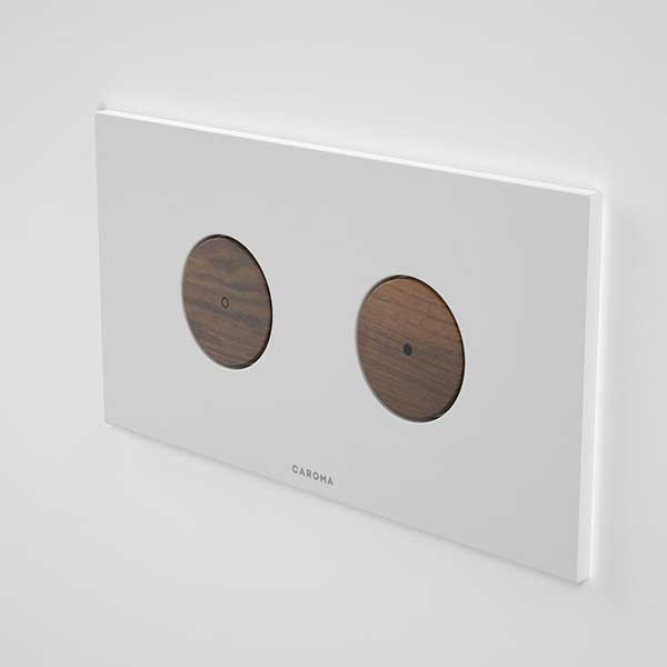 Caroma Elvire Invisi Series II Round Dual Flush Plate & Buttons Tasmanian Blackwood Online at The Blue Space