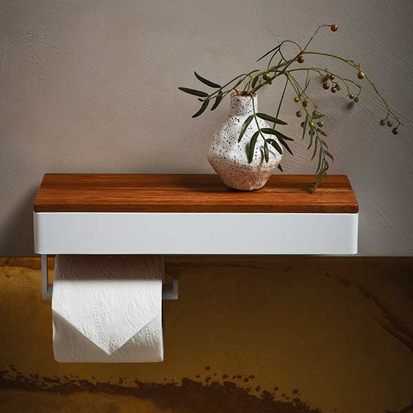 Caroma Elvire Toilet Roll Holder with Tasmanian Blackwood Shelf online at The Blue Space