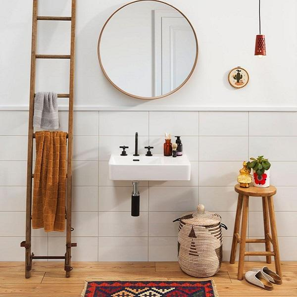Clark Square Wall Basin Right Hand Shelf 600mm Three Tapholes Online at The Blue Space