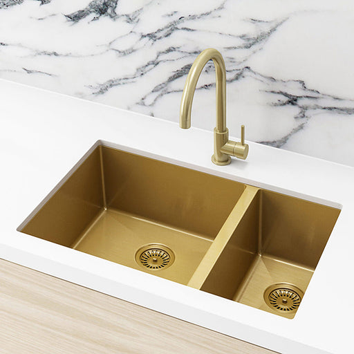Meir Double Bowl PVD Kitchen Sink 670mm - Brushed Bronze Gold  - The Blue Space