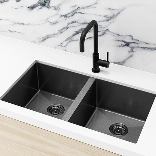 Meir Single Bowl PVD Kitchen Sink 760mm - Brushed Gun Metal Featured on a White Kitchen Benchtop and Marble Splashback with a Squared Off Sink Mixer -The Blue Space