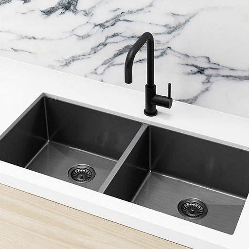 Meir Single Bowl PVD Kitchen Sink 860mm - Brushed Gun Metal Featured on a White Kitchen Benchtop and Marble Splashback with a Squared off Sink Mixer -The Blue Space
