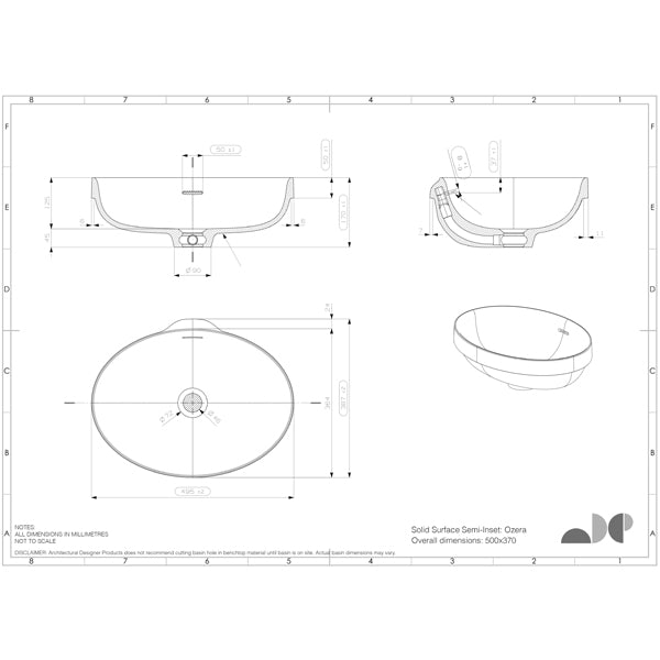 ADP Ozera Semi Inset Solid Surface Basin specs
