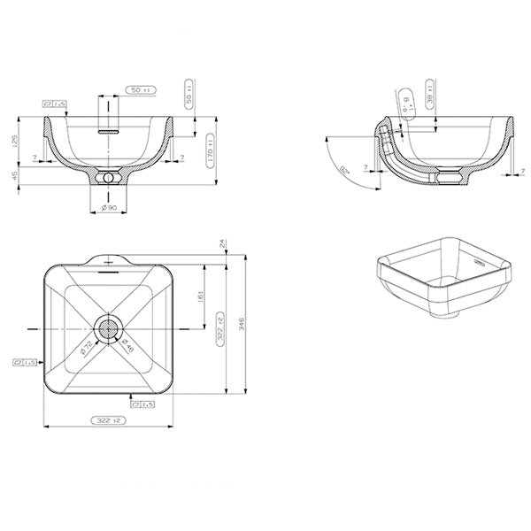 ADP Sava Semi Inset Basin with overflow product drawings