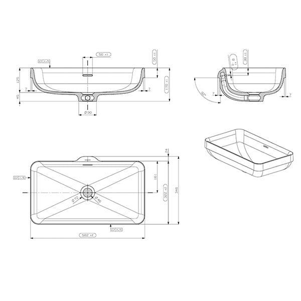 ADP Zeya Solid Surface Basin product specifications