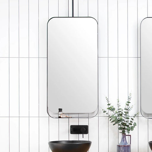 ADP Allegra Mirror 500 x 1000mm with matte black metal trim online at The Blue Space