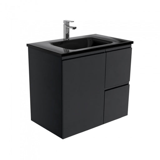Fienza Mambo Black Glass Fingerpull Wall Hung Vanity 750mm - The Blue Space