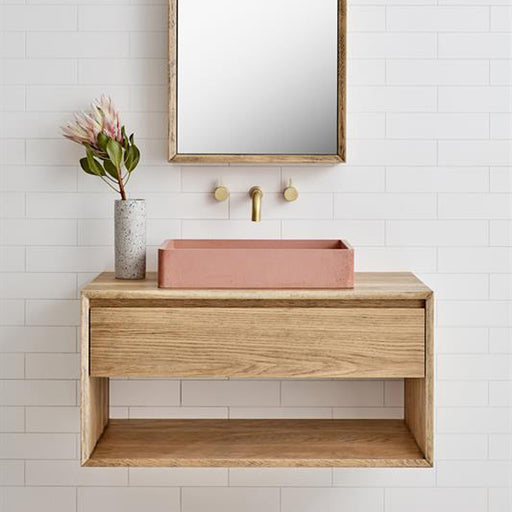 Loughlin Furniture Baxter Single Timber Vanity 600mm to 1200mm with Pink Basin - The Blue Space