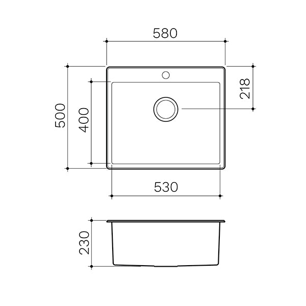 Clark Square 45L Laundry Sink technical drawings