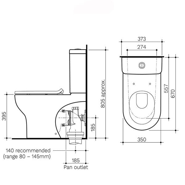 Clark Round Back To Wall Toilet Suite dimensions