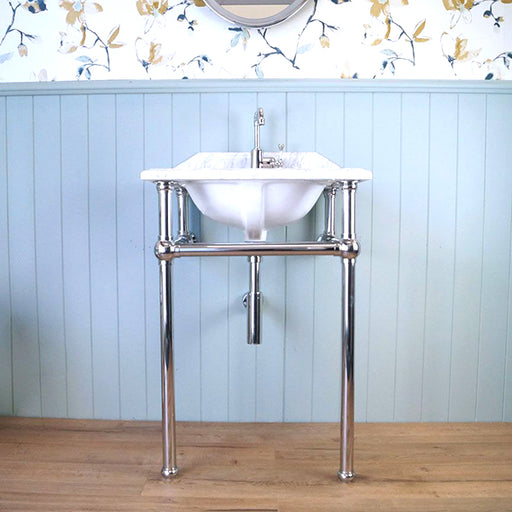 Turner Hastings Mayer Chrome Washstand with 60 x 55 Real Carrara Marble Top Online at The Blue Space