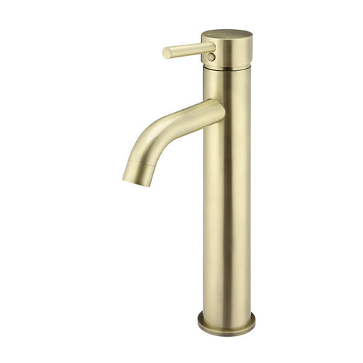 Meir Round Tall Tiger Bronze Basin Mixer with Curved Spout - The Blue Space